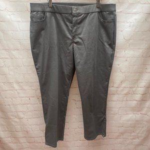 EUC Isaac Mizrahi Sateen Ankle Pant Gray 18 Petite